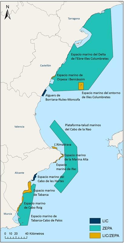 Mapa de espacios marinos protegidos en el Levante
