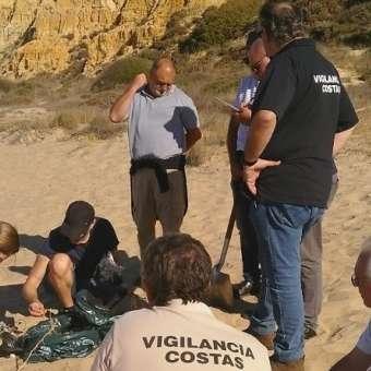 Grupo de recogida y limpieza en la playa